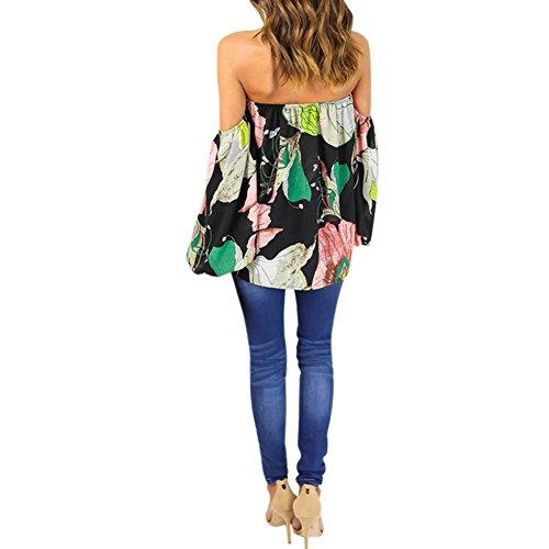 LAEMILIA Chemise Femme Épaules Dénudées Dos Nu Imprimé Floral Sexy T-shirt Manches Longues Tee Shirt Top Hauts Slim Fit Vert