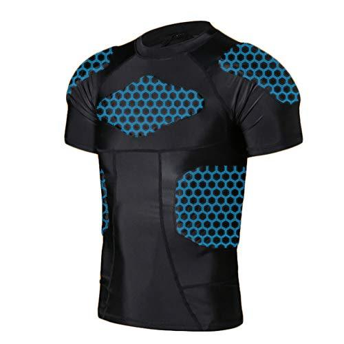 LXC Antikollision Protektoren Shirt Gepolstert Sportanzug Schutz Bekleidung Für Fußball Basketball Rugby (Color : Black, Size : XXL)