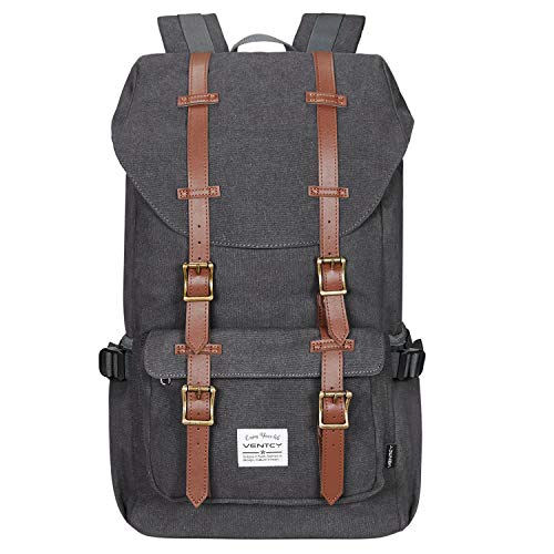 VENTCY Canvas Rucksack Damen Herren Vintage Backpack Segeltuch Retro Studenten Rucksack Laptop Wasserabweisend Dayback für Freizeit Outdoor Reise 23L