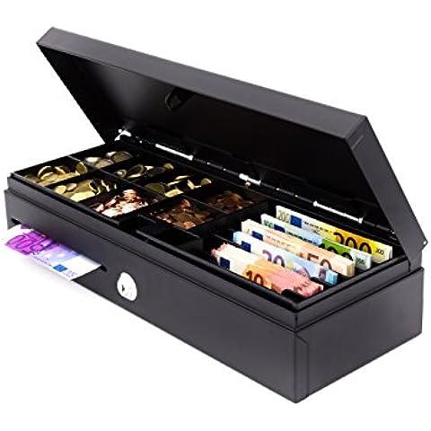 ACROPAQ cajón caja Flip Top–Apertura Vertical–Interfaz POS 12V RJ11–compartimento interior extraíble y bloqueable incluye. Color: negro.