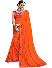 Orange Georgette Embroidered Saree With Silk& Net Blouse