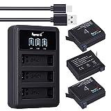 Baterías AHDBT-401 (3Packs) 1500mAh + LCD Cargador Doble USB para baterías Gopro 4 Gopro Hero 4 Negro/Plateado