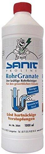 SANIT - RohrGranate flüssig - 1000ml-Flasche - der kräftige Rohrreiniger für harte Fälle -