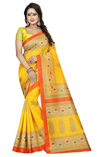 Tarshika women\'s art silk kalamkari and bhagalpuri style saree with blouse piece (Multi-Color_Free_Size) SAMPURNA YELLOW