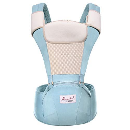 Lenfesh Baby Tragetuch Babytrage Rucksack mit abnehmbaren Hipseat Wickeltuch Baby Tragehilfe Multifunktions Freisprecheinrichtung Verstellbarer Rucksack für Baby Neugeborene/Kleinkinder