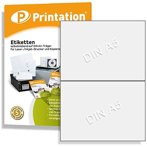 Universal Etiketten 200 Stk. 210 x 148,5 mm weiß permanent selbstklebend - 100 A4 Bogen à 1x2 Aufkleber - Internetmarke Paket 3655 4628