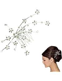 Saingace Silver Personality Gem Crystal Wedding Bridal Princess Jewelry Crown Hair Accessories Hair Clip Hair...