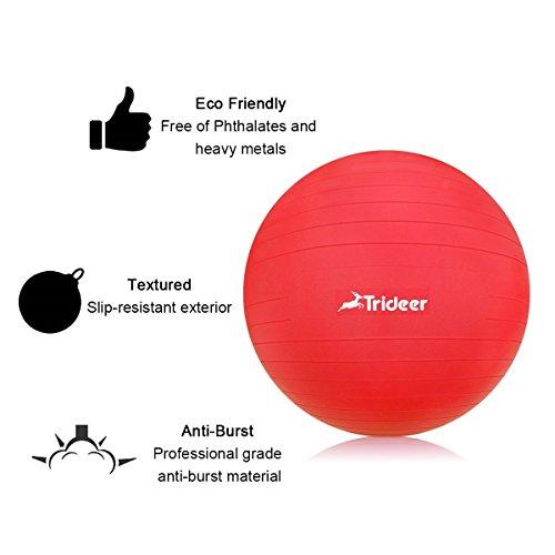 Trideer Robuster Gymnastikball Sitzball Pezziball von 45cm 55cm 65cm 75cm & 85cm inkl. Ballpumpe - 6
