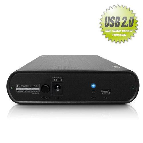 FANTEC DB-ALU2 Externes Festplattengehäuse (für den Einbau einer 8,89 cm (3,5 Zoll) SATA Festplatte, USB 2.0 Schnittstelle, inkl. One Touch Backup Funktion, gebürstetes Aluminium Gehäuse) schwarz