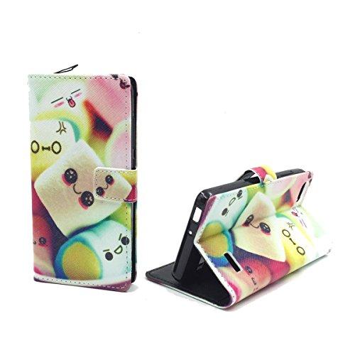 König Design Handyhülle Kompatibel mit Huawei G Play Mini/Honor 4C Handytasche Schutzhülle Tasche Flip Case mit Kreditkartenfächern - Marshmallows