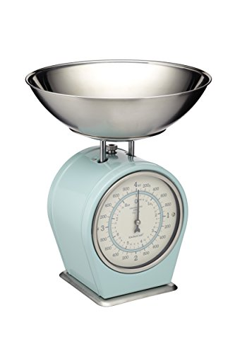 Classically styled blue mechanical kitchen scales, Heavy duty scales with a vintage style face, Clearly marked metric and imperial dial, With an extra large detachable stainless steel measuring bowl, Weighs up to 4kg / 8lbs