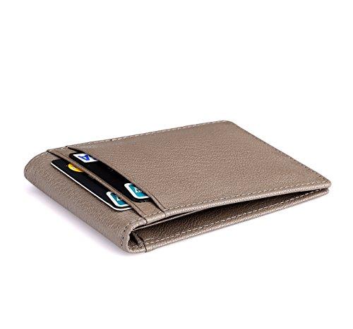 flintronic RFID-Blocker Schutz Geldbörse, Ausweis- und Kreditkartenetui Leder Brieftasche Echtem Leder, Herren Geldbörse Visitenkartenetui Leder (#3 Grau) (Dünne Geld-clip)