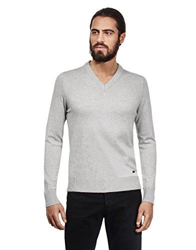 VB -Maglione da uomo con scollo a V, aderente Grey Medium