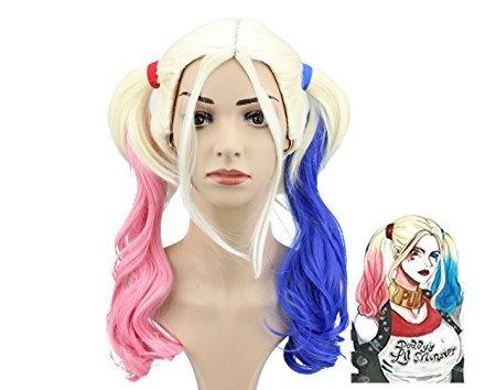 Harley Quinn Perücke Suicide Squad Halloween-Partei-Kostüm-Rosa-Blau Gradient Pferdeschwanz -Perücke (Seite Pony Mit Pferdeschwanz)