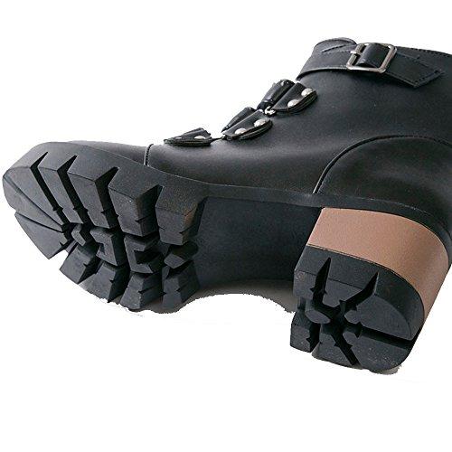 Senhoras Bloco Fivela Black Western E Clássicos Sapatos Ankle Zíper Calcanhar Boots Coolcept Brtpxr
