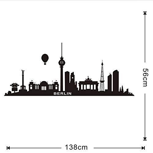 (Gwgdjk Große Größe Schwarz Wasserstoff Ballon Berlin Wandaufkleber Stadt Wohnkultur Wohnzimmer Diy Sofa Hintergrund Wandbild Hohe Qualität)