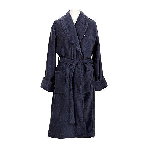 GANT Herren Bademantel Premium Velour Robe ink blue