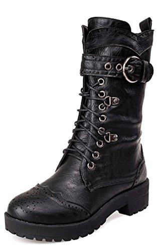 SHOWHOW Damen Biker Boots Halbschaft Stiefelette Schnürstiefel Schwarz 40 EU 40f59b1669