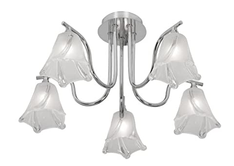 Oaks Lighting Luxe 5 Arm Ceiling Fitting in Polished Chrome Finish Complete with Acid and Clear Glass Shades