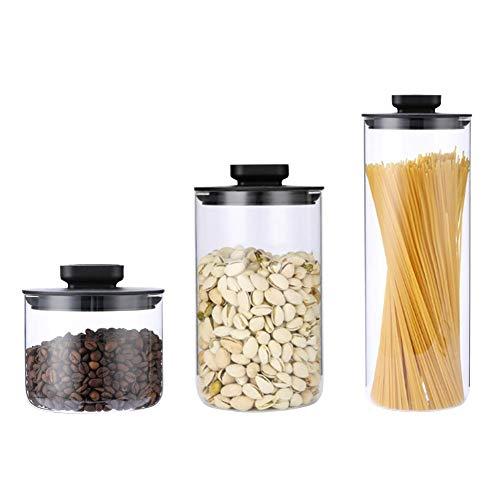 Dedeka 3 PC Bocal Verre Pots en Verre, récipient Boite Verre Couvercle en Joint en Silicone Servir du thé, du café, des épices, etc.