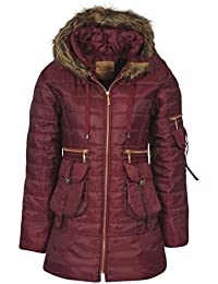 Womens Ladies Quilted Puffer Puffa Jacket Coat Parka Padded Fur Hood Winter Warm [Wine, UK L]