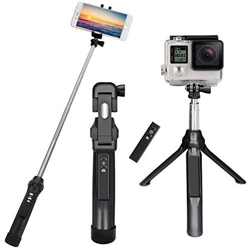 Palo Selfie Trípode para Teléfono Móvil y Gopro, PEYOU [ 3 en 1 ] Extensible con Obturador Remoto Recargable + GoPro Adaptador para iPhone X / 8 / 8 / 7 / 7plus / 6S, para Android Samsung Galaxy S8 / S8 Plus / S7 / s7edge, Camara, para GoPro Hero 3/4/5 (Negro)
