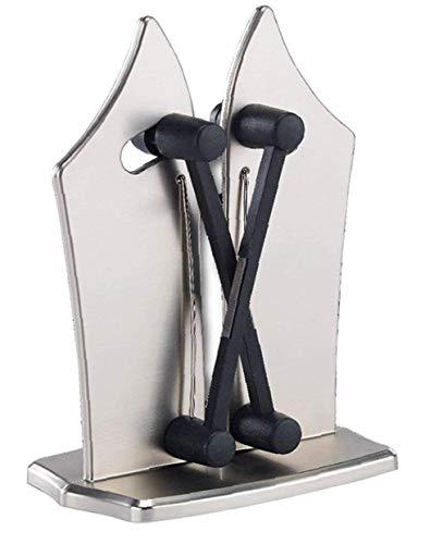 Cxz- affilacoltelli professionale bavarese per cucina, in carburo di tungsteno per utensili lisci e dentati, veloce, sicuro e facile da usare (argento)
