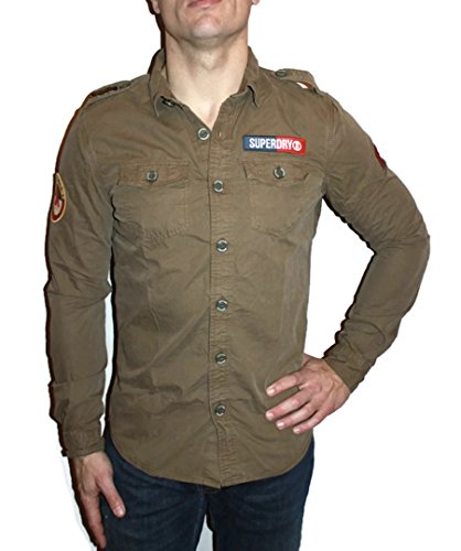 Superdry Herren Freizeithemd Ultra Light Delta Grün (Trench Army) Small Trench Grün