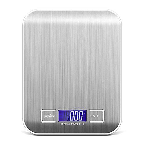 Digitale Küchenwaage, Easy-Link 5KG Digitalwaage Electronische Waage Digital Kitchen Scale - 5kg Maximalgewicht / 6 Wiegeeinheiten / Tara-Funktion / Auto-Off / Edelstahl / LCD-Display