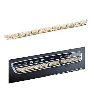 VDARK Mercedes Benz Zubehör Teile GLC AC Button Klimaanlage Steuerschalter Regler Caps Abdeckungen Abziehbilder C-Klasse Innen Dekoration E Klasse AMG Bling Kristall 11 stück (Gold)