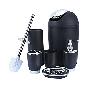 Cooltechstuff plastic bathroom accessory set luxury bath for Black bathroom bin and toilet brush