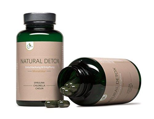 LifeWize® Natürliche Detox Kur Kapseln / Spirulina + Chlorella + Cholin / Darmreinigung / Entschlackung / Entgiftung / Abnehmen & Diät - 100% Vegan & Ohne Zusatzstoffe