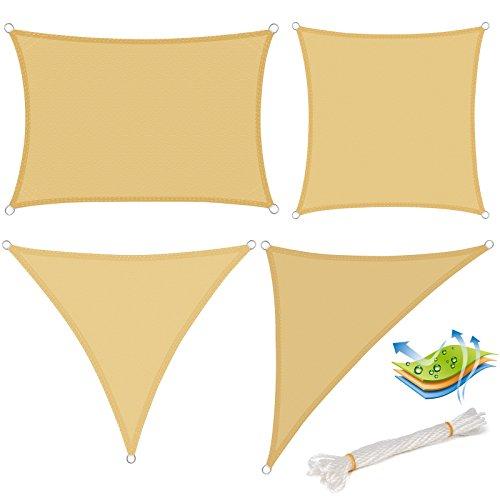 WOLTU Sonnensegel Rechteck 3x5m Sand Wasserabweisend Sonnenschutz Polyester Windschutz mit UV Schutz...