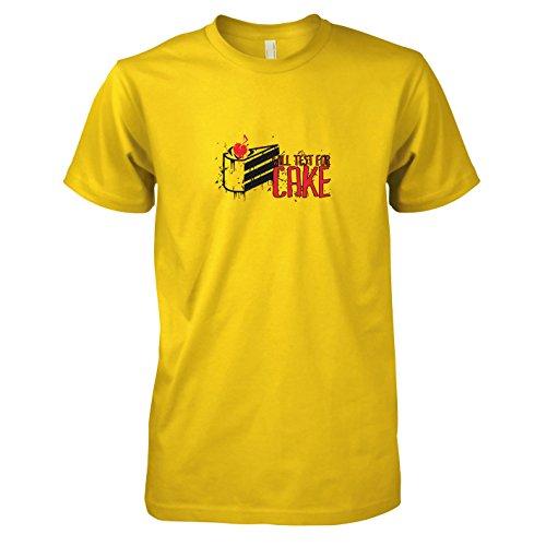 TEXLAB - Will test for Cake - Herren T-Shirt, Größe XXL, gelb