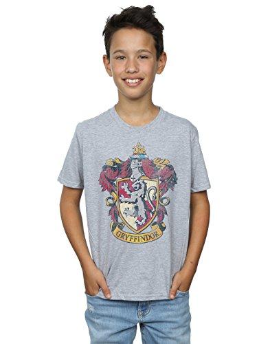 Harry Potter Niños Gryffindor Distressed Crest Camiseta 9-11 Years Gris Sport