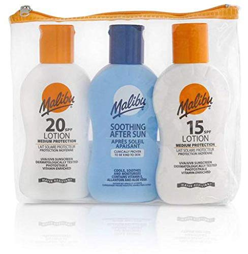 MALIBU TRAVEL SET PACK 1x 100ML SUN LOTION SPF15, 1x 100ML SPF20 AND 1 x 100 ML AFTER SUN 100ML CREAM - Sonnenschutz Set