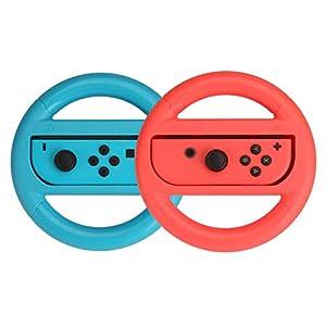 AmazonBasics – Lenkrad für die Nintendo Switch, Blau/Rot (2er-Pack)