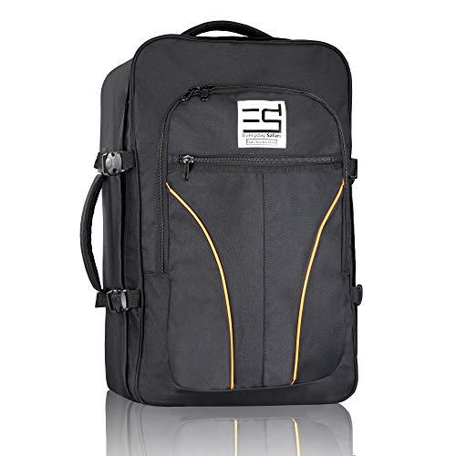 EveryDaySafari® [Ryanair Handgepäck] 55x40x20cm Maße erfüllen Bestimmungen, Kabinengepäck, Reise-Rucksack, Reise-gepäck,Koffer-Tasche schwarz