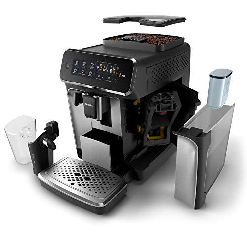 Philips Serie 3200 LatteGo EP3246/70 - Cafetera super automática, 5 bebidas de café, jarra de leche LatteGo muy fácil de limpiar, molinillo cerámico, pantalla táctil