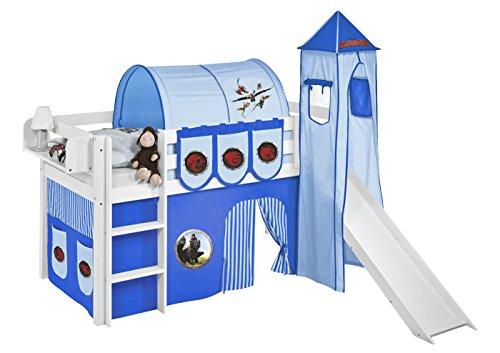 Lilokids Set Angebot - Spielbett JELLE 90 x 190 cm Dragons Blau mit Rutsche - Hochbett Weiß - mit Vorhang, Turm, Tunnel und Taschen