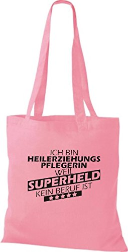 Shirtstown Stoffbeutel Ich bin Heilerziehungspflegerin, weil Superheld kein Beruf ist rosa
