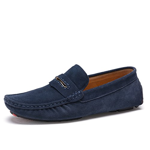 Minitoo Mens gestreift, verklagt Leder Mokassins Slipper Boat Shoes Blau
