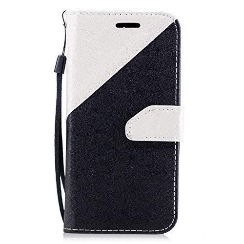 Surakey Cover LG V20 a Libro, Pieghevole Flip Portafoglio Custodia LG V20 Protezione Totale Patchwork Wallet Case Cover con Porta Carte,Chiusura Magnetica,Funzione Stand,Nero Bianco