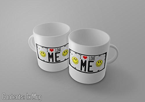 I love me–Vintage Nummernschild Print 11Oz Tee/Kaffee Tasse–New (Zucker-print-tee)