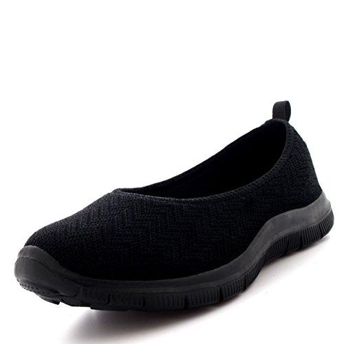 Mujer Bailarina Aptitud Yoga para Caminar Corriendo Deportes Gimnasio Ligero Malla Zapatillas - Negro/Negro - UK3/EU36 - BS0107