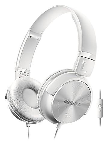 Philips SHL3065WT Casque audio avec microphone et commandes d'appel, pliable à plat, câble 1,2m,