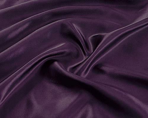Linen Plus California Bettwäsche-Set für King-Size-Betten, aus weicher Seide, einfarbig, Violett, 4-teilig -