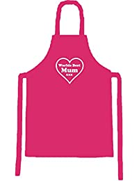 "Mum Apron - Pink bib apron with ""Worlds Best Mum"" white heart design. Perfect gift for Mum at Christmas or on her Birthday."