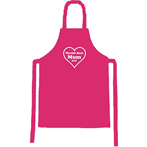 Mum Apron - Pink bib apron with Worlds Best Mum white heart design. Perfect gift for Mum at Christmas or on her Birthday. by OFL