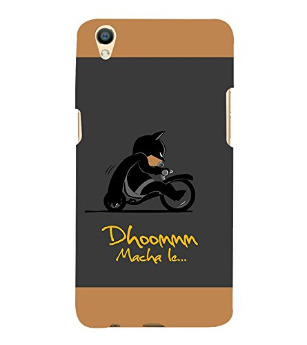 Takkloo Dhoom macha le ( Bat in Black, Super hero on black bike, man wearing black mask, Cartoon, Grey Background) Printed Designer Back Case Cover for Oppo F1 Plus :: Oppo R9  available at amazon for Rs.399